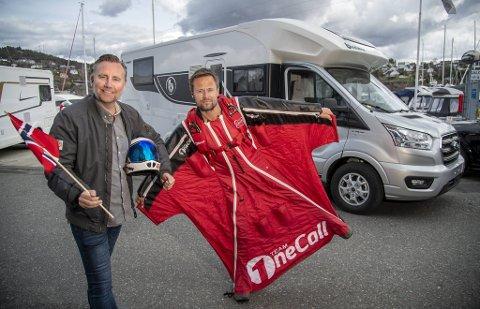 BA skal sammen med vingedraktlandslaget Team OneCall gjøre et ellevilt stunt på 17. mai. Bjørn Magne Bryn (til høyre) skal fra luften kommunisere med BAs Rune Eriksen (til venstre). Alt skal sendes direkte på BA.no.