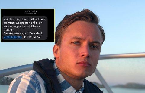Even Meinseth (25) var blant de tusenvis av unge som tirsdag ble mottaker av MDG-SMS-en.