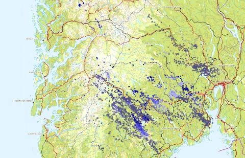 Det er registrert hundrevis av lynnedslag på Østlandet de siste timene.