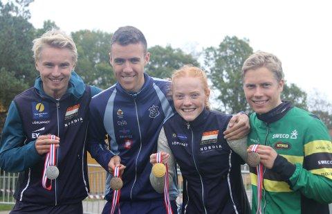 SUKSESS: Jørgen Baklid (til venstre), Sander Arntzen, Jenny Baklid og Audun Heimdal ble alle topp tre tre under NM-uka i orientering.