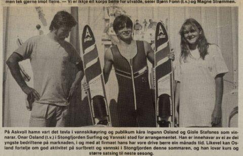 1984: Ingunn Osland testa og søkte på namnet sitt i Firda-arkivet. Då dukka blant anna dette bildet frå ein vasski-konkurranse i Stongfjorden opp.