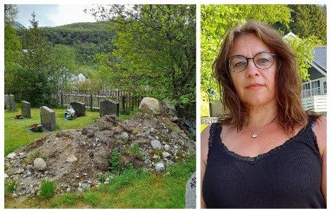 IKKJE GREITT: – Det er uverdig at ein gravplass skal sjå slik ut, seier Ingelin Stang om gravplassen i Stongfjorden.