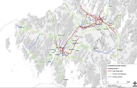 Fremtidens sykkelnett: Slik kan Fredrikstad (og Sarpsborg) bli for syklister i årene som kommer, ifølge forslaget til ny sykkelplan. De røde strekene viser veier og felt som bare skal være for syklister.