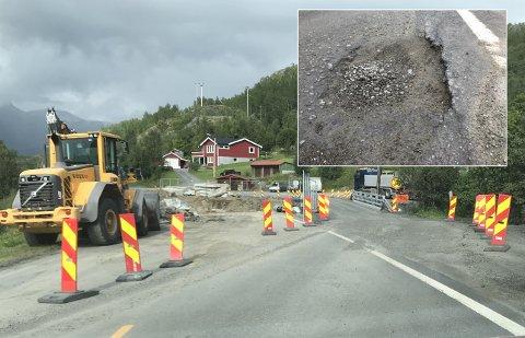 Før og etter: Det innfelte bildet viser den kanten i overgangen til E6. Hovedbildet viser veien litt senere tirsdag ettermiddag.