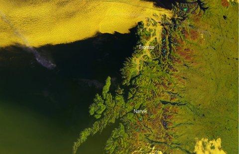 Det gule på kartet er tåke. Som vi kan se er fjordene nord for Finnsnes fylt med tåke søndag morgen.