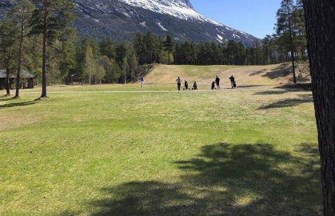 FLOTT VÆR: Narvik Golfklubb var heldig med været da sesongen åpnet i Skjomen Golfpark.