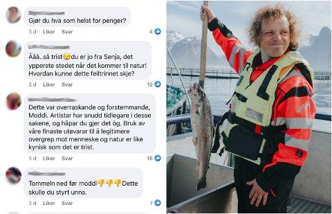 STORM: Til venstre er et knippe utvalg kommentarer i kommentarfeltet. Til høyre artist Pål Moddi Knutsen.