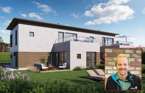 SATSER PÅ NOE ANNERLEDES: – Det er spennende når det fokuseres på noe annet en trehusbebyggelse, sier eiendomsmegler Amelia Åsengen-Sletholen. Hun forteller at byggingen er godt i gang. Boligen blir oppført med Leca.