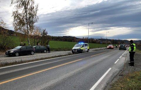 Trafikken måtte dirigeres av politiet på Gudbrandsdalsvegen.