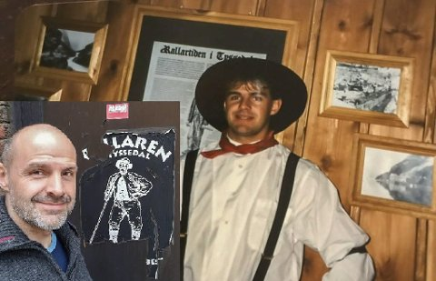 Gode minner: Roger Eriksen bak baren på Rallaren tilbake på 1990-tallet. På det innfelte bildet står han foran døra på baksiden av samfunnshuset i Tyssedal, restene av logoen til Rallaren henger der ennå. Foto: Privat