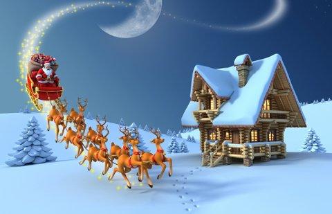 ALENE I LUFTA: Julenissen får luftrommet for seg selv i Finnmark på julaften. Ingen av de kommersielle flyselskapene flyr i Finnmark den 24. desember.
