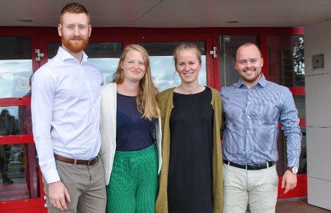 FERDIG UTDANNET: Martin Støyten (f.v.), Ingvild Skålnes Elverud, Marte Sandstå Brattebø og Lars Rødland. Her fra studiestart 2017.