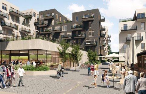 Slik kan sentrum bli seende ut om noen år dersom Bjørkelangen Sentrumsutviklings planer realiseres. Illustrasjon: AMB Arkitekter