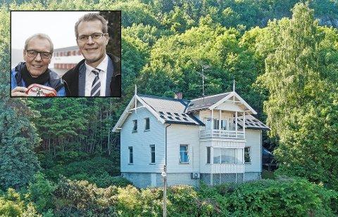 """Per Christian (t.v.) og Alf Johan Svele har begge bodd i """"Sildevillaen"""" som små. Nå er huset til salgs."""
