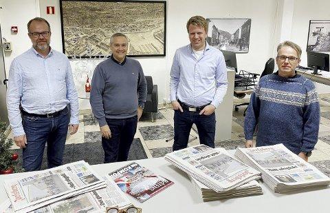 Budsjettkameratene på borgerlig side: Knut Vidar Hoholm (KrF), Jan Fredrik Vogt (FrP), Aleksander Leet (H) og Henning Nilssen (V). Foto: Pål Nordby