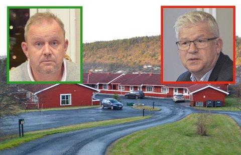 UENIGE: Ordfører Grunde Wegar Knudsen (Sp) og Jone Blikra (Ap) har forskjellige syn på saken om Stabbestad omsorgsboliger. Samtlige av leilighetene på bildet, samt ytterligere tre ved siden av, skal nå legges ned.