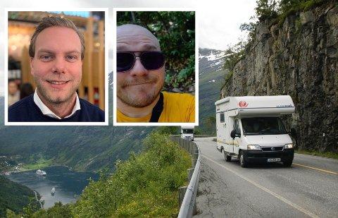 GUTTA PÅ TUR: Christian Laland (t.v.) og Paul Lundstuen er to av fire som skal oppdage Norge i sommer. Illustrasjonsfoto: Terje Bendiksby, NTB scanpix / Innfelt foto: Sondre Lindhagen Nilssen og privat