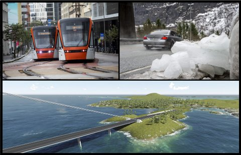 Bybanen, rassikring og utbedring av fylkesveier samt bygging av E39 mellom fergeleiene må være første prioritet, mener fylkesadministrasjonen.