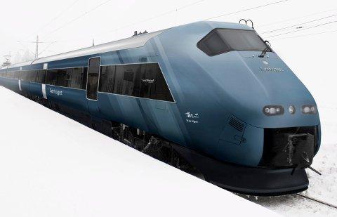 Slik vil det nye «Sørtoget» se ut, i sin kjølige blåfarge. Men vi passasjerer må vente litt før vi merker noen endringer.