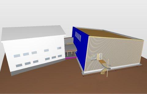 NY GYMSAL: Dette er de foreløpige tegningene av den nye gymsalen i Svinndal. Takoverbygget har man bestemt ikke skal bygges.