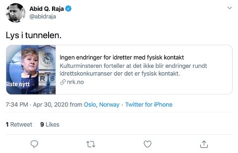 Abid Rajas tweet om lys i tunnelen i forbindelse med reglene for kontaktidrett, 30. april 2020