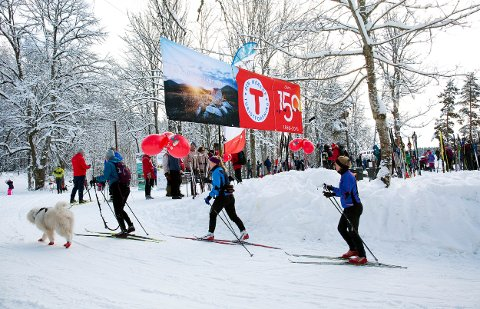 BURSDAGSFEST: Den Norske Turistforening er 150 år og feiret med Kom deg ut-dagen 2018 på Sarabråten i Østmarka på dagen 150 år etter at DNT ble stiftet.