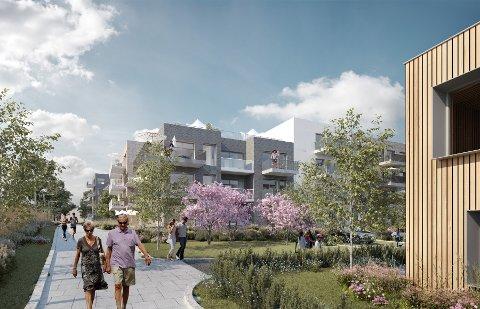 POPPELSTIEN: Det er planlagt 124 leiligheter, samt nytt seniorsenter og forretninger i Poppelstien på Sæter. Klikk videre for å se flere bilder av prosjektet. Illustrasjoner: A-lab