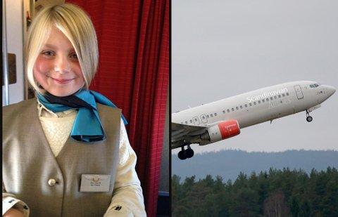FIKK SERVERE: Linnea (9) fikk være flyvertinne på flyet til Evenes. Foto: Gr Sissel Opsvik/Vidar Ruud, NTB scanpix