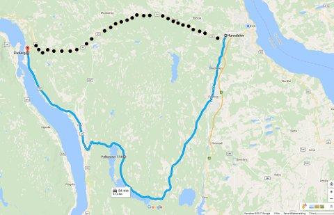 LANG OMKJØRING: Det skal utføres asfaltarbeid på Fylkesveg 33 (stiplet linje) over Vardalsåsen. Derfor må de tyngste bilene kjøre Fylkesveiene 114 og 34 (blå) om Trevatn og Hov for å for eksempel komme seg fra Hunndalen till Fluberg.