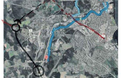 FORSLAGET: Stedsutviklingsgruppa Hunndalen har tegnet sin egen trasé for riksvei 4 – og den er en av flere som vurderes av vegvesenet.
