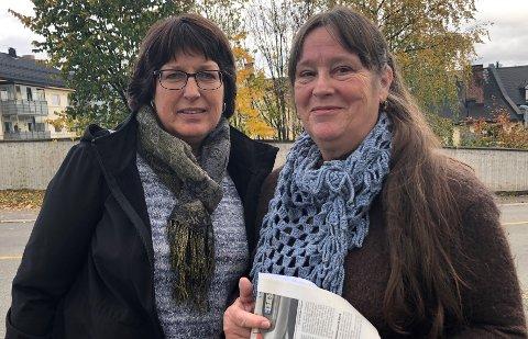AKSJONERER: Tone Glimsdal Johansen (t.v.) og Elin Sveen håper på stor oppslutning når de onsdag inviterer til fakkelaksjon for bevaring av Fjellvoll.