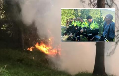 ROS: Brannmannskapene som jobbet med å slukke skogbrannen lørdag får ros for innsatsen.