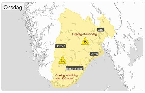 FAREVARSEL: Det er ventet vanskelie kjøreforhold over store deler av Sør-Norge onsdag ettermiddag.