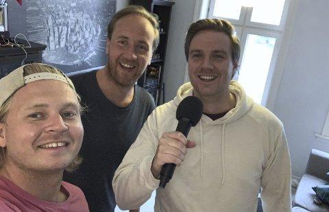 KREATIV GJENGEN: Kristoffer Arnesen (fra venstre), Truls Nordbrenden og Even Lundby Nyhus fra Elverum sender live og inviterer til quiz to ganger i uka fra stua på Tøyen. Begge foto: Privat