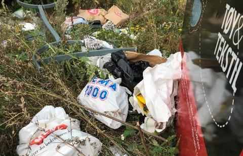 PÅ FEIL STED: Noen har etterlatt seg mange bæreposer med søppel ved Røde Kors sine klescontainere på Teie.