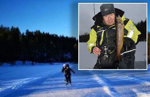 STÅLIS I FJELLA: Mange benytter anledningen til å teste ut skøyteforholdene eller fiskelykken på islagte fjellvann om dagen. Ole-Håkon Heier (innfelt) er blant disse, og han føler seg trygg på isen på Rakkestads fjellvann, men sjekker alltid tykkelsen før han begir seg ut på den.