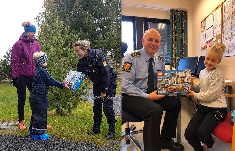 Her får Vetle (5) og Eline (9) hvert sitt sett med politi-Lego, etter at de deltok på Politiets dag.