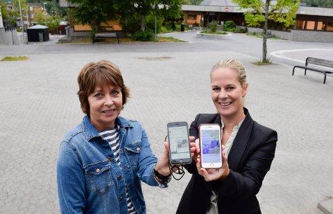 TROR PÅ NETT: Ragnhild Collet-Hanssen (t.h.) og Line Clausen har tro på at gratis nett kan trekke folk til torget.