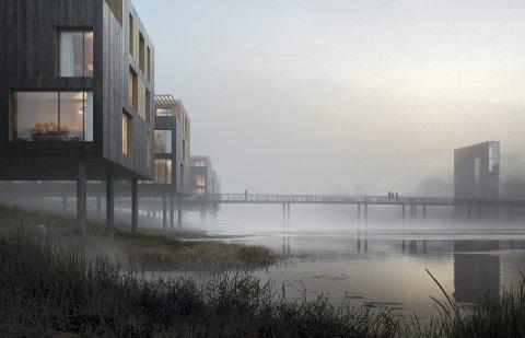 BRYGGEHUS: Rekkehus i tre vil ligge helt ned mot Nitelva. En gangbru vil binde den nye bydelen med dagens sentrum, via en kunstig øy. IDÉSKISSE: MIR.NO