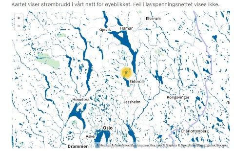 BRUDD-KART: Hafslund Netts kart viser at 19 husstander fortsatt er uten strøm ved ett-tiden onsdag.