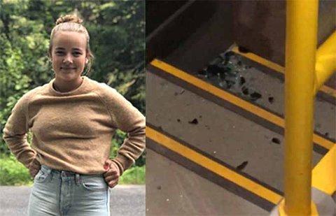 KRASJET: Camilla Rasmussen (15) måtte stå på den overfylte bussen som krasjet med en annen buss. Glasset på den ene døren knuste da bussene kolliderte.