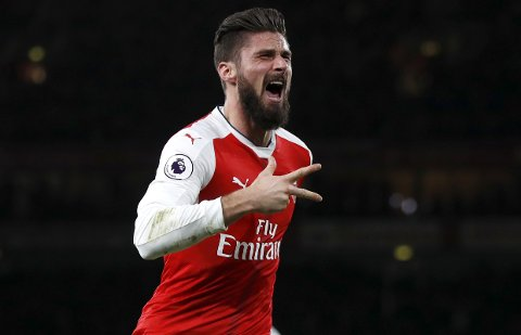 Arsenal's Olivier Giroud celebrates scoring a goal during the English Premier League soccer match between Arsenal and West Bromwich Albion at Emirates stadium in London, Monday, Dec. 26, 2016. (AP Photo/Kirsty Wigglesworth)