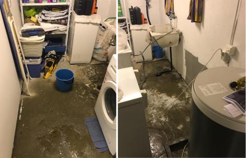 GUFFENT: Det fløt kloakk i kjelleren til Karianne Heim og familien to ganger i februar, med bare noen dagers mellomrom.