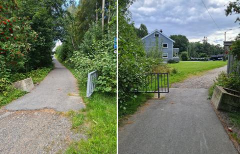 ULOVLIG: Gangveien starter på toppen i Vardeveien. I bunnen av bakken ender gangveien i Bekkefarveien. Nabo, Veronica Andersen har sett bilister bruke gangveien.