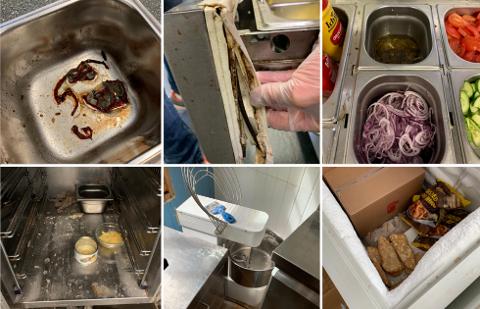 UHYGENISK: Dette er noen av Mattilsynets egne bilder fra de var på inspeksjon hos Jafs i juni. Fra øverst til venstre: Muggen mat funnet i beholder. Ødelagt og skitten pakning på skuff tilhørende burgerbenken. Skitt rundt salatdisken. Skitt i pizzabenken. Eltemaskin funnet uvasket og stående på gulvet i 2. etasje. Fisk funnet uemballert i fryser.