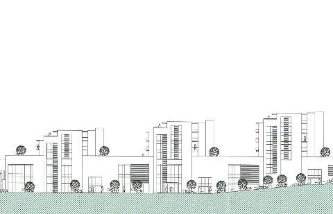 Bygget vil via tre tårn vil få til sammen 54 leiligheter. (Skisse: Kaada Arkitekter AS)