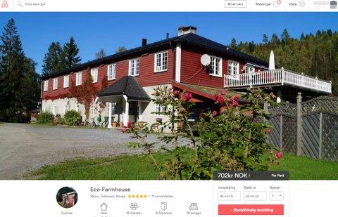Eco-Farmhouse som ligger på Åshammeren utenfor Skien, driver med utleie av rom for overnatting blant annet på den populære bookingtjenesten Airbnb. FAKSIMILE: Airbnb