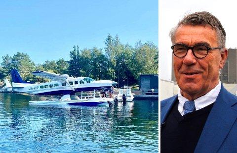 SJØFLY: Her står Stein Erik Hagens sjøfly fortøyd ved hytta hans i Kragerø. Han eier flyet sammen med Erik Bøhler.