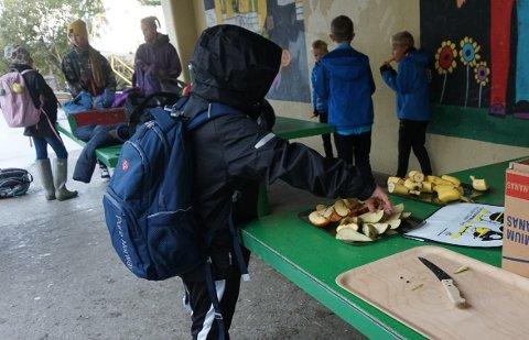 En av elevene forsyner seg med frukt mens sykkelen hans blir reparert