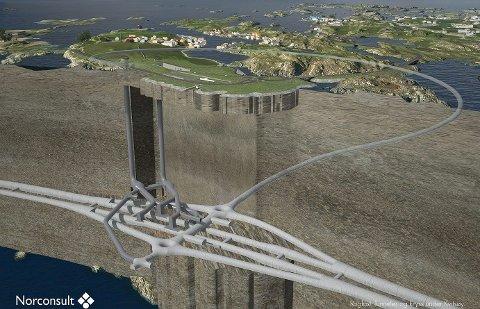 E39 Boknafjordtunnelen (Rogfast) slik den er planlagt med luftesjakter og veiramper under Kvitsøy.